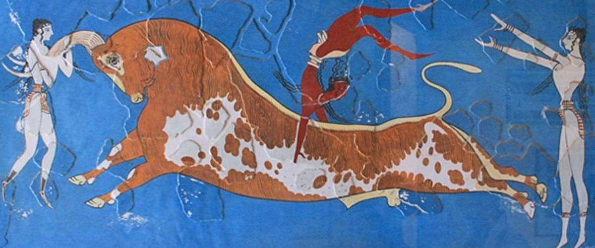 Minoan fresco, bull leaping