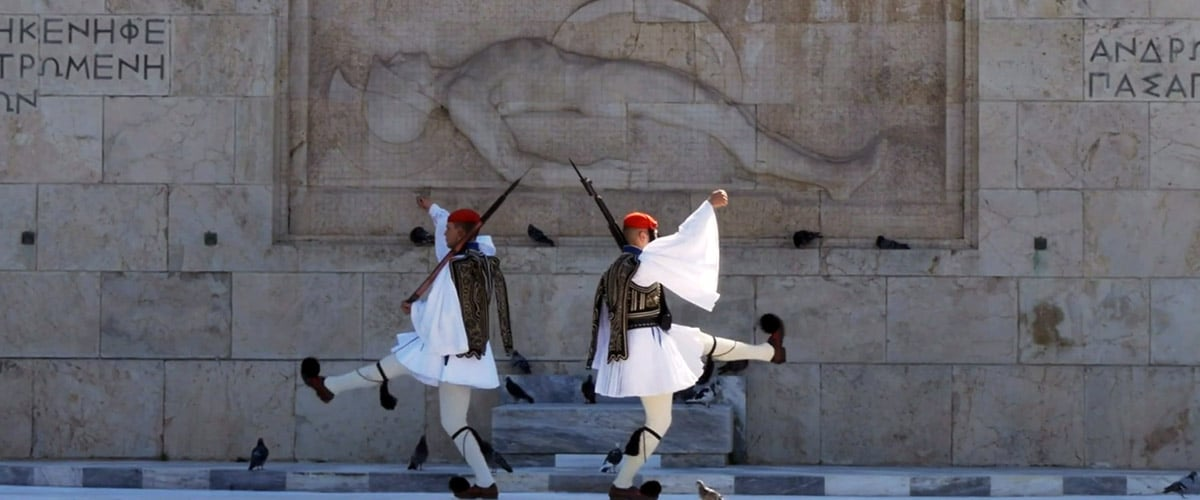 Evzone guarding the tomb of unknown soldier in Athens